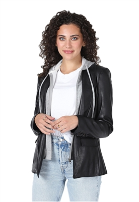 Central Park West Aspen Faux Leather Blazer in Black