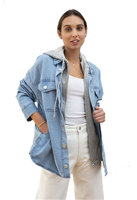 Central Park West Maia Denim Shacket in Light Denim