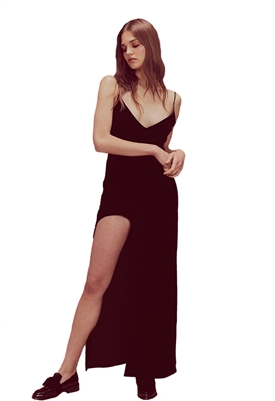 For Love & Lemons Nadine Velvet Maxi Dress in Noir