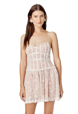 For Love & Lemons Jelena Strapless Lace Dress in Ivory
