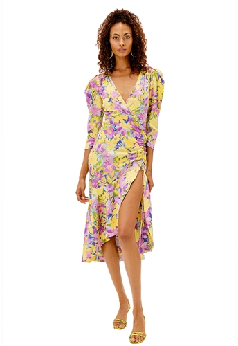 For Love & Lemons Cassia Midi Dress in Lemon