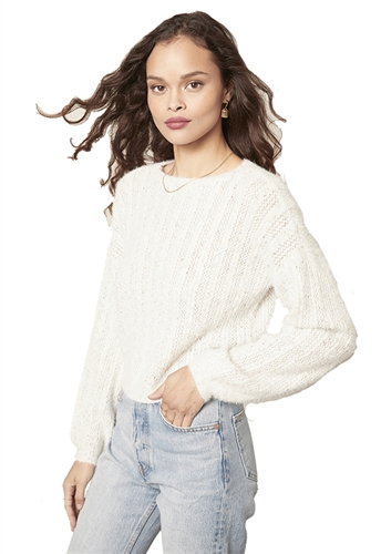 Cupcakes and Cashmere Halcyon Crop Sweater in White