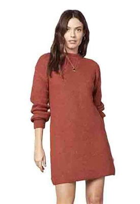 Cupcakes and Cashmere Twain Sweater Dress in Rust