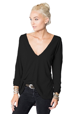Stillwater Deep U Neck Long Sleeve Tee in Black