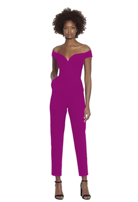 Susana Monaco Off Shoulder Fitted Jumpsuit in Fuchsia