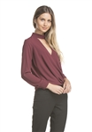 And B Long Sleeve Fold Over Blouse in Wine