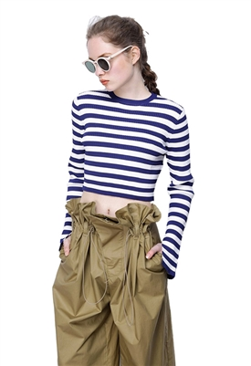 Caara Perry Crop Top in Navy Stripe