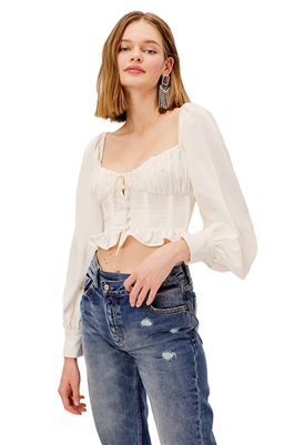 For Love & Lemons Carina Crop Blouse in Ivory