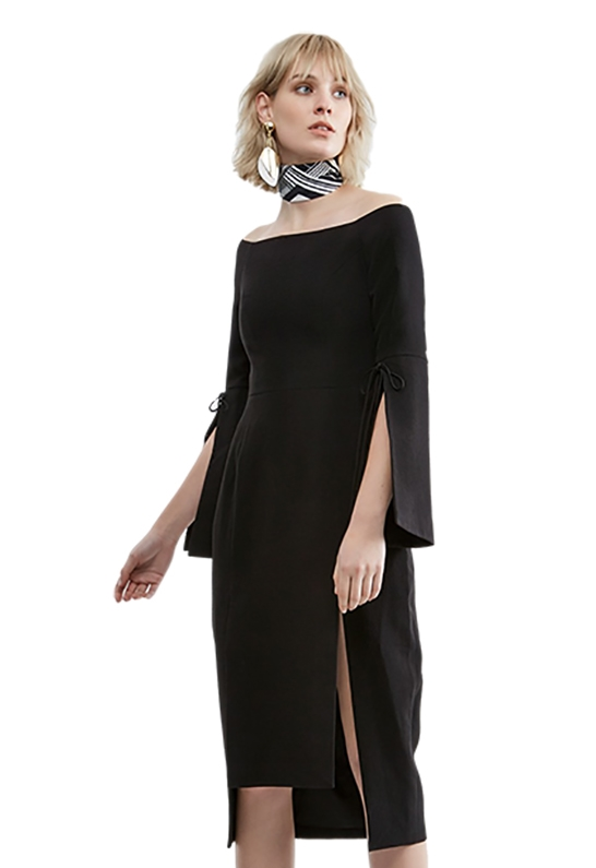 cf484606734 C Meo Collective Have It All Midi Dress in Black
