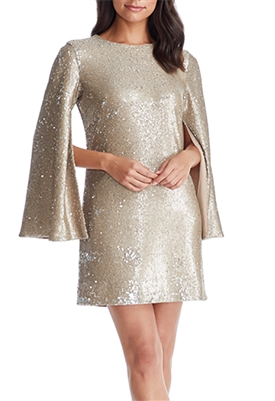 Dress The Population Liza Cape Sleeve Mini Dress in Sand