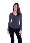 Three Dots Drop Needle Rib Long Sleeve Top in Black