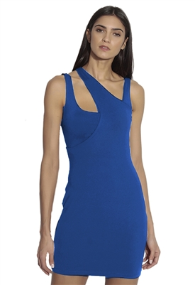 Susana Monaco Curved Layered Strap Mini Dress in Imperial Blue