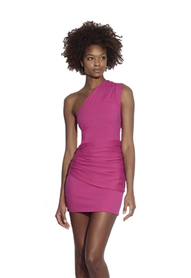 Susana Monaco Gathered Overlay One Shoulder Mini Dress in Bubblegum