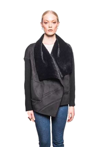 John + Jenn Tristan Faux Shearling Collar Jacket in Black