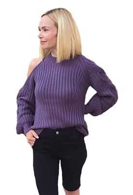 525 America Braided Sleeve Cold Shoulder Sweater in Vintage Violet