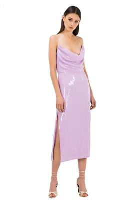 Misha Collection Devon Beaded Midi Dress in Lilac