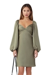 Fame and Partners Ambrosia Long Sleeve Dress in Dusty Sage