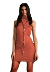 Sheri Bodell High Neck Crystal Mini Dress in Rust