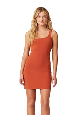 Bec & Bridge Ruby One Shoulder Mini Dress in Rust