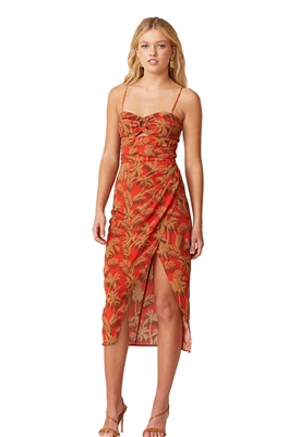 Bec & Bridge Sandy Palm Midi Dress in Red Palm