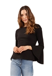 Three Dots Ponte Top with Ruffle Sleeves in Black