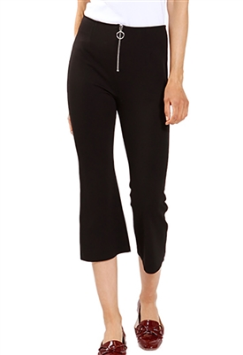 Three Dots Ponte Zip UP Pant in Black