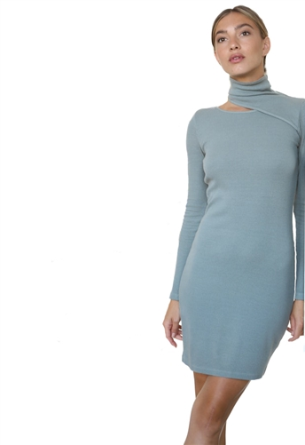 Monrow Long Sleeve Turtleneck Mini Dress in Sage