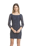 And B 3/4 Sleeve Lace Dress in Navy