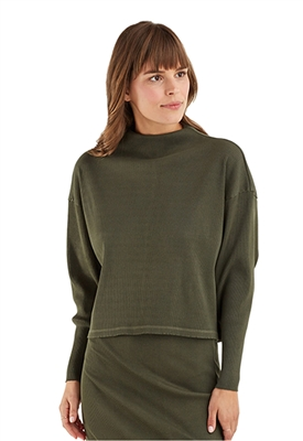 York Street Split Back Mock Neck Top in Pine