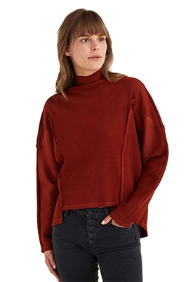York Street Mock Neck Dolman Sleeve Top in Rust