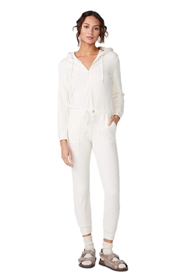 Monrow Supersoft Hooded Jumpsuit in Ivory
