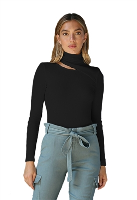 Monrow Turtleneck Bodysuit with Slit Neck in Black