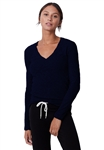 Monrow Textured Tri-Blend Fitted Long Sleeve V Neck Tee in Inca