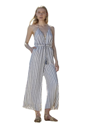 The Jetset Diaries Aries Stripe Jumpsuit in Navy & Ivory