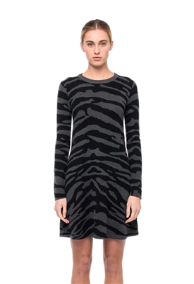 John + Jenn Nico Long Sleeve Mini Sweater Dress in Shadow Zebra