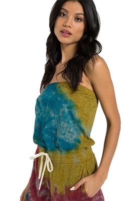 n:Philanthropy Plum Strapless Romper in Tie Dye Multi