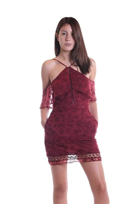 The Jetset Diaries Willow Mini Dress in Dark Wine