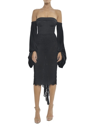 Misha Collection Constance Midi Dress in Black