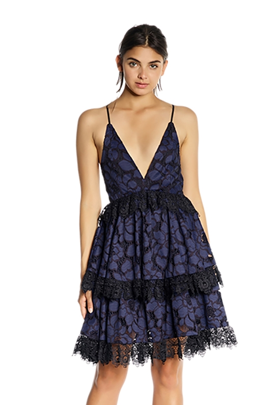2196b2b01f5c0 Kendall + Kylie Lace Baby Doll Dress in Navy