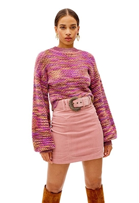 For Love & Lemons Kara Crop Sweater in Magenta
