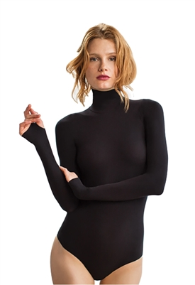 Commando Ballet Turtleneck Thong Bodysuit in Black