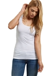 Three Dots Long Fitted Tank in White