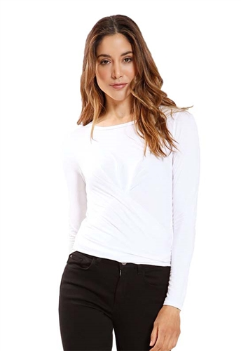 Three Dots Long Sleeve Tie Back Crop Top in Gardenia