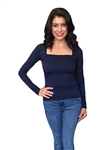 Three Dots Square Neck Long Sleeve Top in Navy