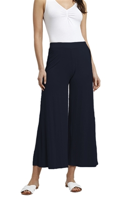 Three Dots Refined Jersey Wide Leg Crop Pant in Night Iris
