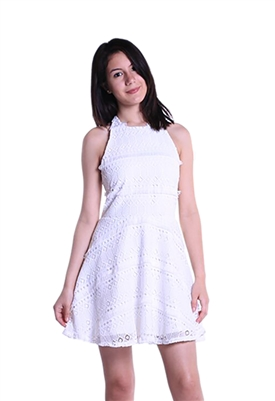 Lisa & Lucy Fringed Lace Halter Dress in White