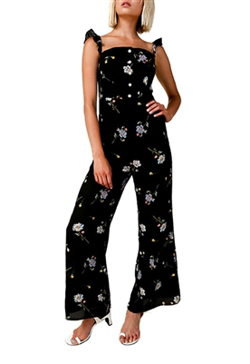 Line & Dot Darcey Wide Leg Jumpsuit in Black Multi