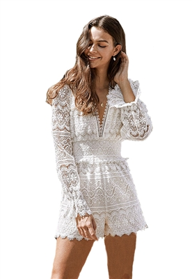 Saylor Lill Lace Romper in White