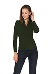 Maison T Marion Long Sleeve Cotton Tee in Military Green