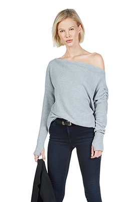 Michael Lauren Santos Drop Shoulder Boat Neck Sweater in Heather Grey